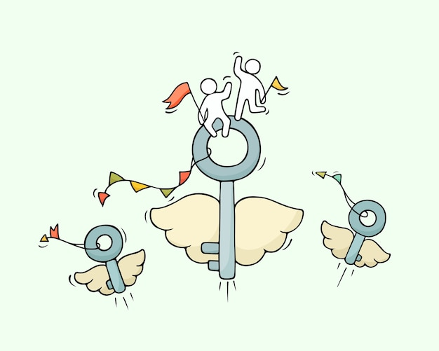 Sketch of flying keys with little workers. doodle cute miniature about business idea. hand drawn cartoon illustration for business and security design.