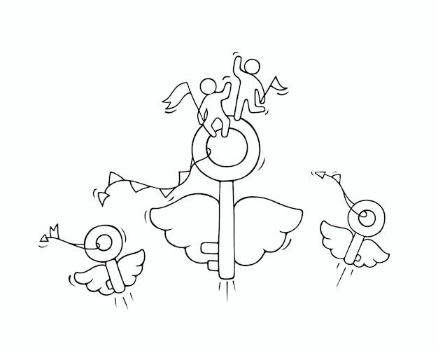 Sketch of flying keys with little workers. doodle cute miniature about business idea