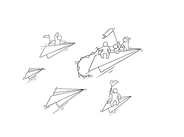 Sketch of flying paper plane with little workers. doodle cute miniature about leadership and discovery. hand drawn cartoon illustration for business and education
