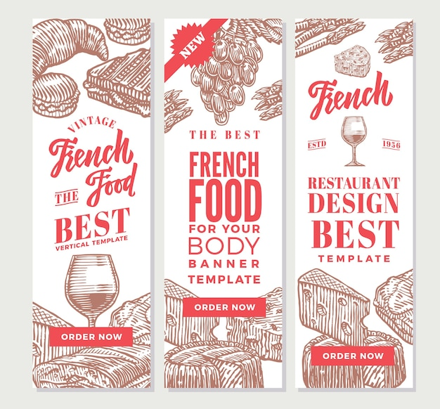フランス料理の垂直バナーをスケッチする