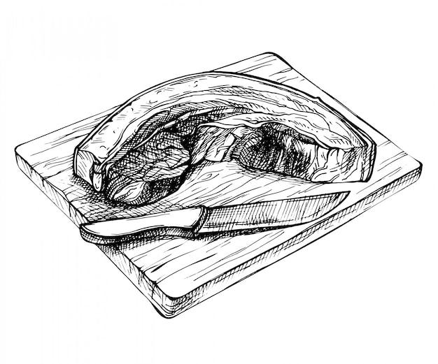 신선한 생 돼지 고기 조각을 스케치하십시오. 손 나무 보드에 썰어 삼겹살을 그려. 자세한 잉크 고기 그림