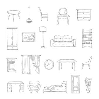 家具をスケッチします。本棚と椅子、ソファとテーブル、ワードローブ、ランプの家庭用植物。インテリアヴィンテージ手描き孤立した要素。家具のインテリア、テーブルとソファ、椅子とランプのイラスト