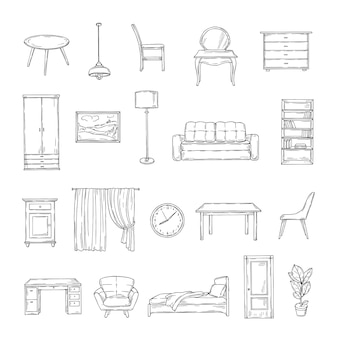 Sketch furniture. bookcase and chairs, sofa and table, wardrobe and lamp home plants. interior vintage hand drawn isolated elements. furniture interior, table and sofa, chair and lamp illustraion