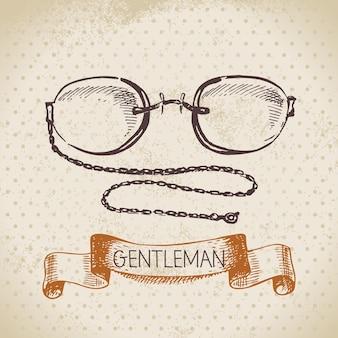 紳士のアクセサリーをスケッチします。手描きの男性イラスト
