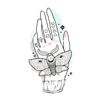 신비 롭고 신비로운 그림으로 그래픽 손 나방을 스케치하십시오.