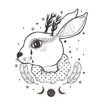 Sketch graphic illustration circus rabbit with mystic and occult hand drawn symbols