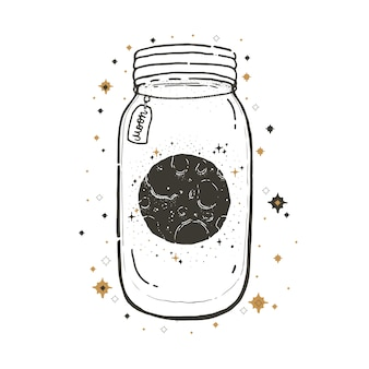 Sketch graphic illustration with mystic and occult symbols. mason jar with moon.