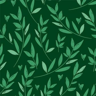 Sketch green foliage seamless pattern