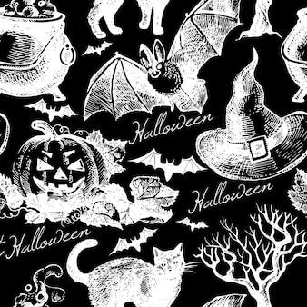 Sketch halloween seamless pattern. hand drawn vector illustration
