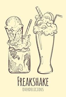 ミルクセーキの手描きをスケッチします。
