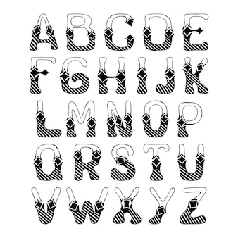 Sketch hand drawn alphabet with hatch ornament font letters isolated vector illustration