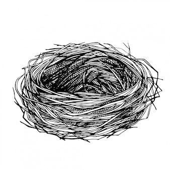 손으로 그린 새의 둥지를 스케치합니다. 가지와 잔디로 만든 빈 둥지