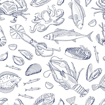 Sketch hand drawn contoured seafood elements