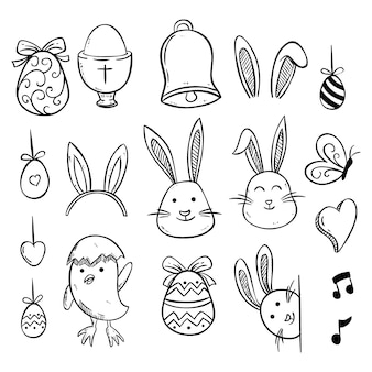 Sketch or hand drawn of easter icons collection