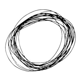 Эскиз рисованной формы эллипса. абстрактный рисунок каракули карандашом. векторная иллюстрация.