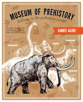 Sketch hand drawn mammoth illustration poster