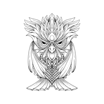 Sketch hand drawn owl can be used for tattoo, t shirt design, decoration.
