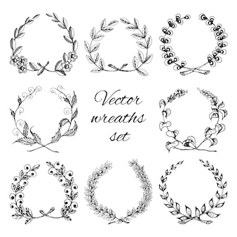 Sketch hand drawn traditional winning laurel branch wreaths set isolated vector illustration
