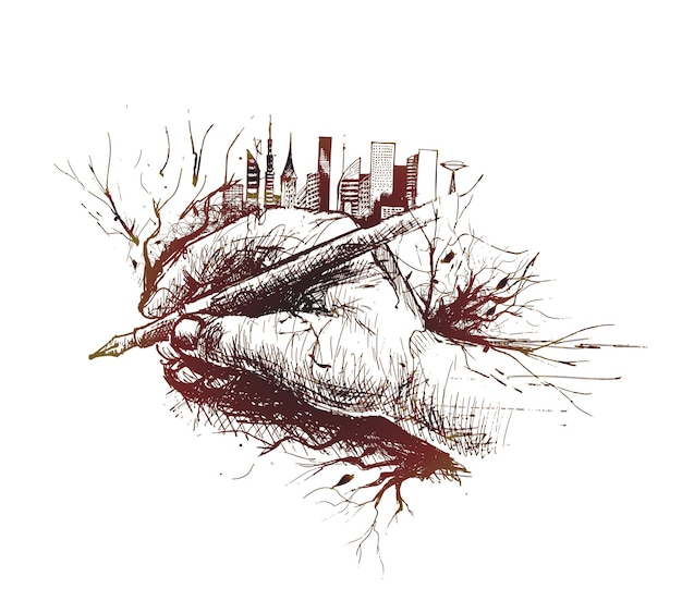 Sketch of hand holding pen isolated on white background with urban city  skyline