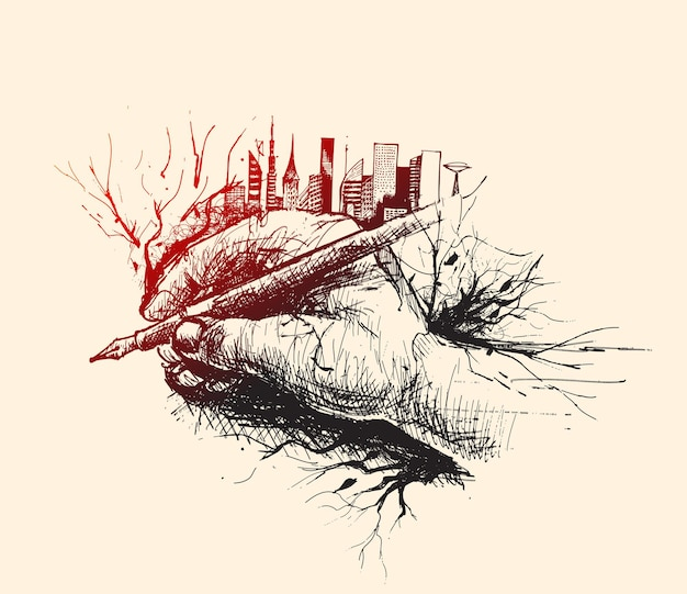 Sketch of hand holding pen with urban city  skyline vector illustration
