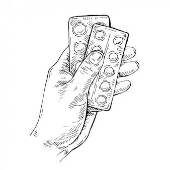 Эскиз рука таблетки в блистерной упаковке. антибиотики препарат, лекарство
