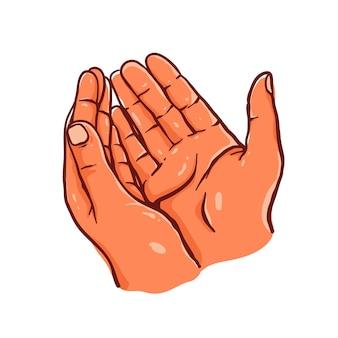 Sketch hand pray, hand drawn technique