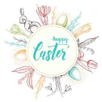 Счастливой пасхи рисованной каракули монохромные иконы-пасхальное яйцо, шоколадный зайчик, ландыши, тюльпан, подснежник, крокус, ива. объекты расположены вокруг метки. sketch.hand сделал надписи