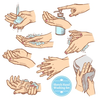 Sketch hands washing hygiene set