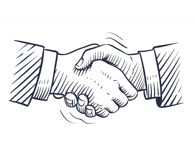 Sketch handshake. doodle handshaking with human hands isolated. professional deal, business people cooperation