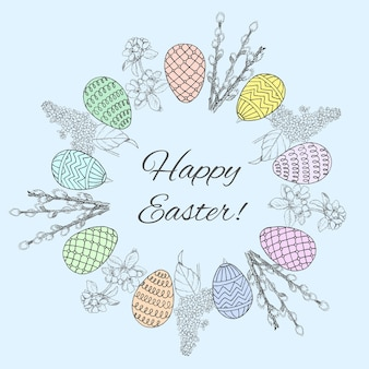 Sketch happy easter round wreath template with ornate eggs willow cherry and lilac branches
