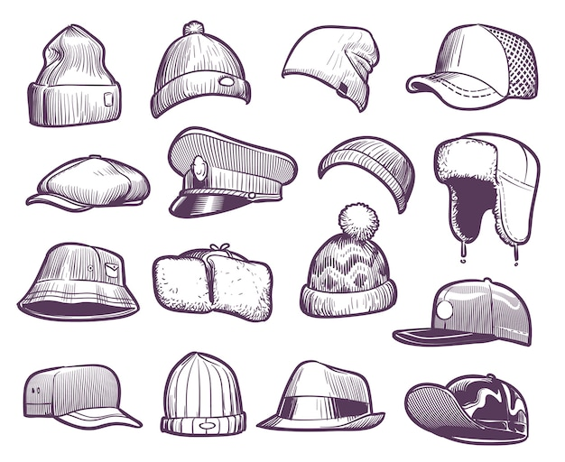Sketch hats. fashion mens caps . sports and knitted, baseball and trucker cap, seasonal headwear drawing fur warm earflaps collection