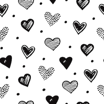 Sketch hearts seamless pattern