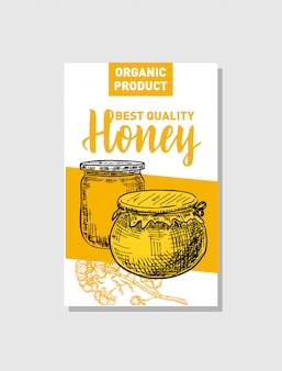 Sketch honey poster. hand drawn vintage style illustrations. card  template. retro background.