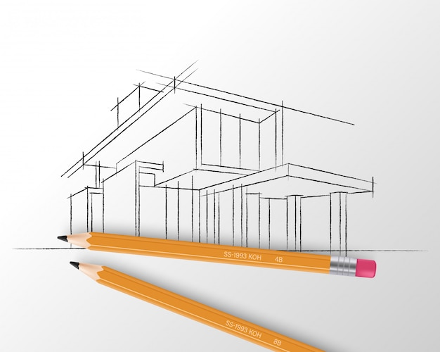 Sketch of house architecture.
