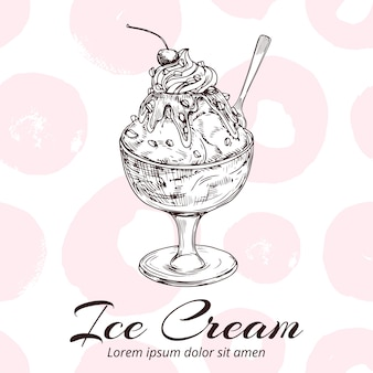 Sketch of ice cream in glass bowl  illustration