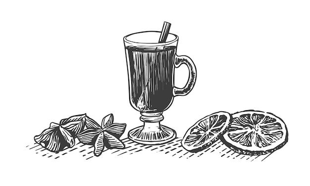 スパイスとホットワインのイラストをスケッチします。ガラスの温かい飲み物