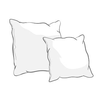 흰색 베개의 스케치 그림