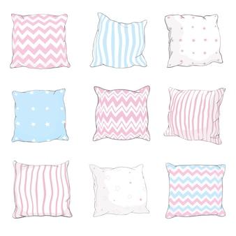 Sketch   illustration set of pillows