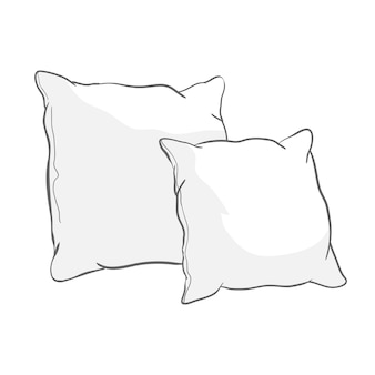 Sketch   illustration of white pillows