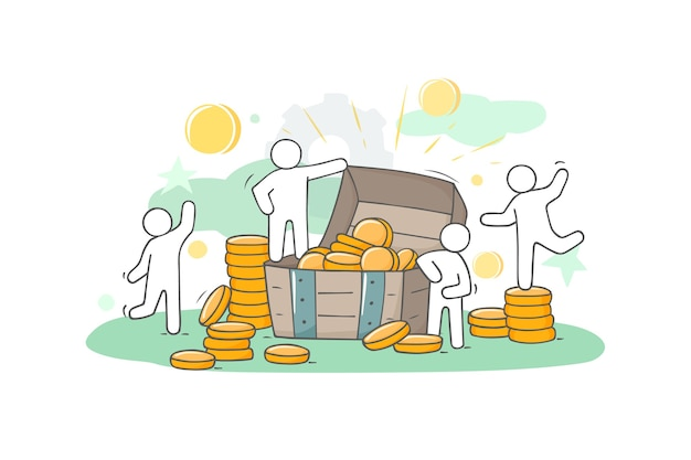 Sketch illustration with little people and coins. doodle cute finance object. hand drawn cartoon vector for business design.