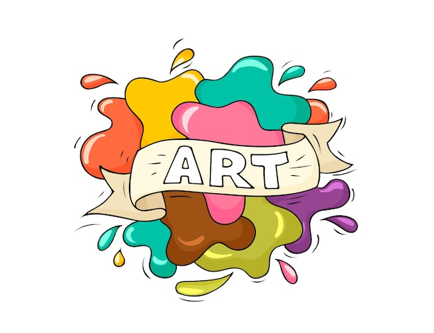 Sketch illustration with splashes. doodle cute template about art with text. hand drawn cartoon vector school design.