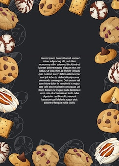 Sketch ink graphic design. sweet cookies.