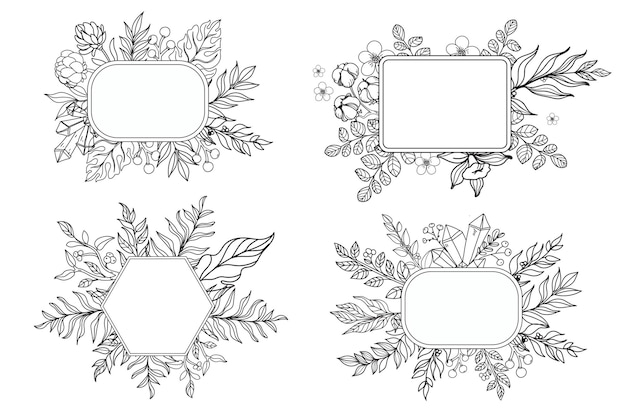 Sketch ink style boho background and frames set with feathers and flowers