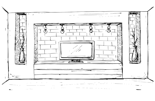 Sketch of the interior. dresser with tv and shelves. vector illustration.
