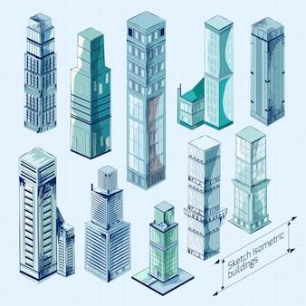 Эскизные изометрические здания цветные