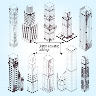 Sketch isometric buildings