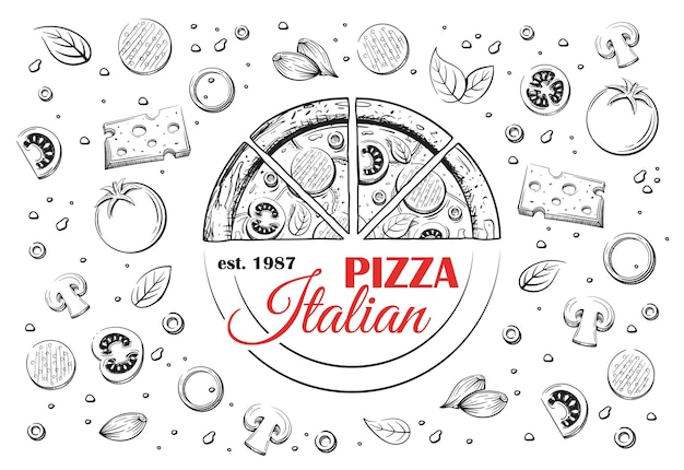Sketch of italian pizza and logo