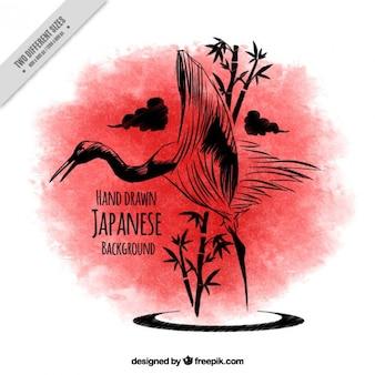 Эскиз японский фон птица