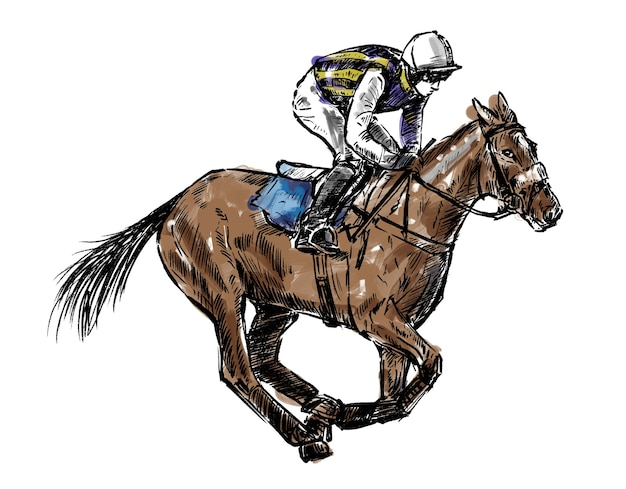 Sketch of jockey hand draw