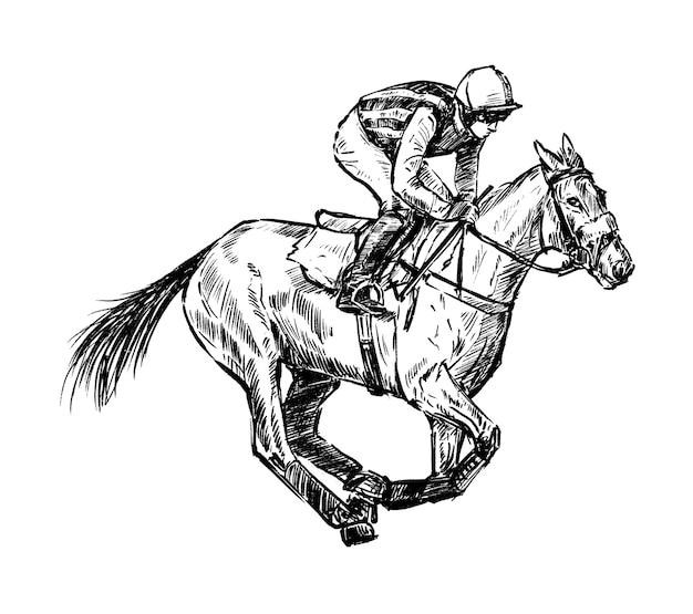 Sketch of jockey racing hand draw